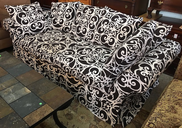 Skirted Sofa with Staggering Cushions - $275 Each $525 Set of 2