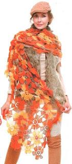 Bufanda Flores a crochet
