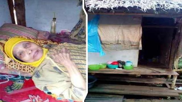 Nenek Lumpuh Dan Tinggal Sendiri Di Gubuk Ini Hanya Minum Air Putih Setiap Harinya