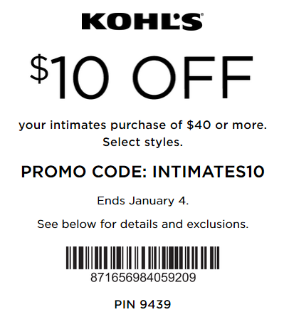 Kohl S Coupon 10 Off 40 Intimates Kohls Cash Coupons