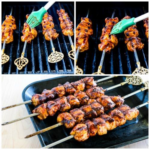 Sriracha-Glazed Grilled Chicken Kabobs found on KalynsKitchen.com
