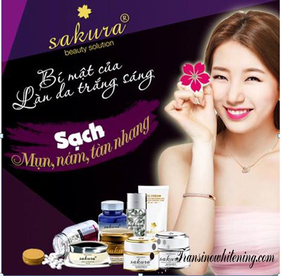 Bộ sản phẩm dưỡng trắng da Sakura Whitening số 1 Nhật Bản