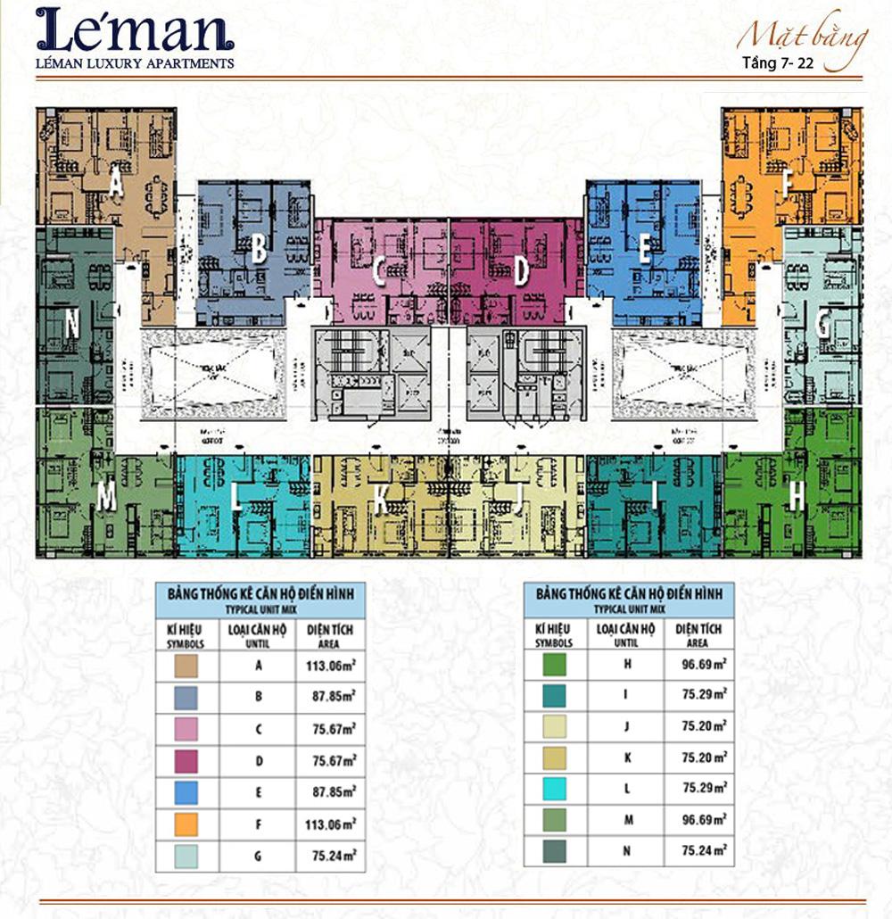 Mặt bằng Leman C T Plaza tầng 7 đến 22