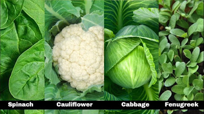 green leafy vegetables like Spinach, Cauliflower, Cabbage, Fenugreek are great sources of iron