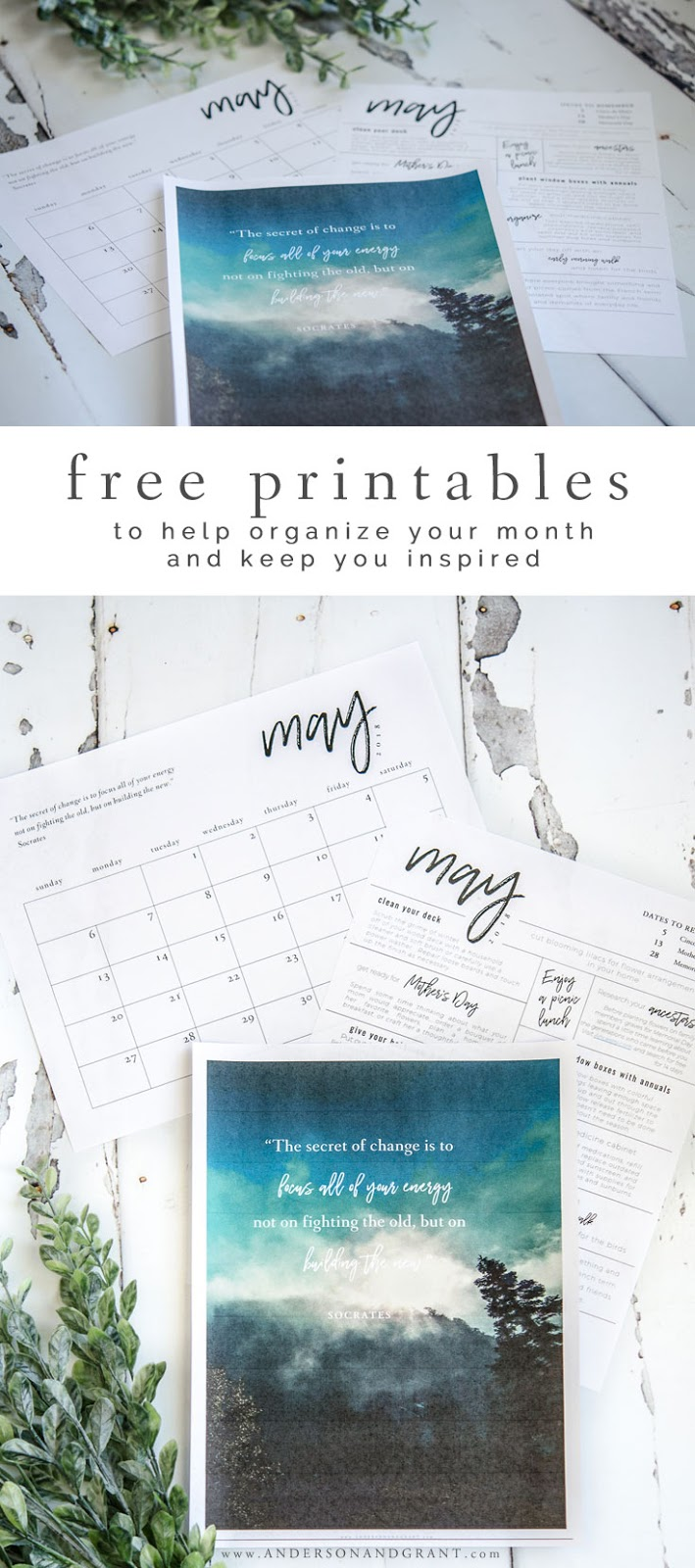 Download this free printable calendar, monthly to do list, and inspirational quote to stay organized and inspired. #freeprintable #printablecalendar #printablequote #andersonandgrant