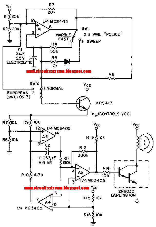 super linear ic siren circuit diagram