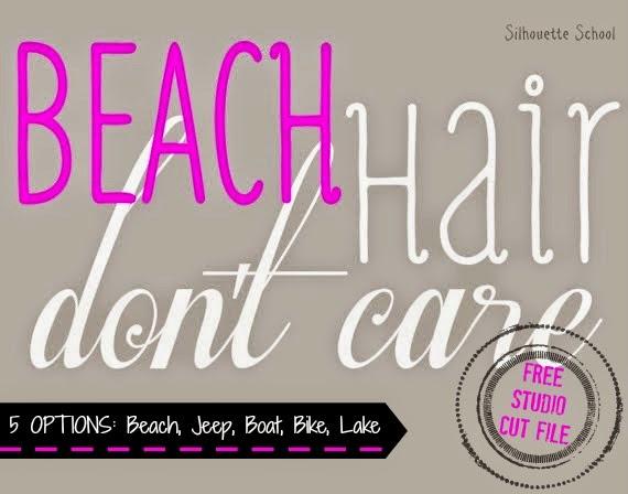 Silhouette Studio, free cut file, beach hair don't care, variations