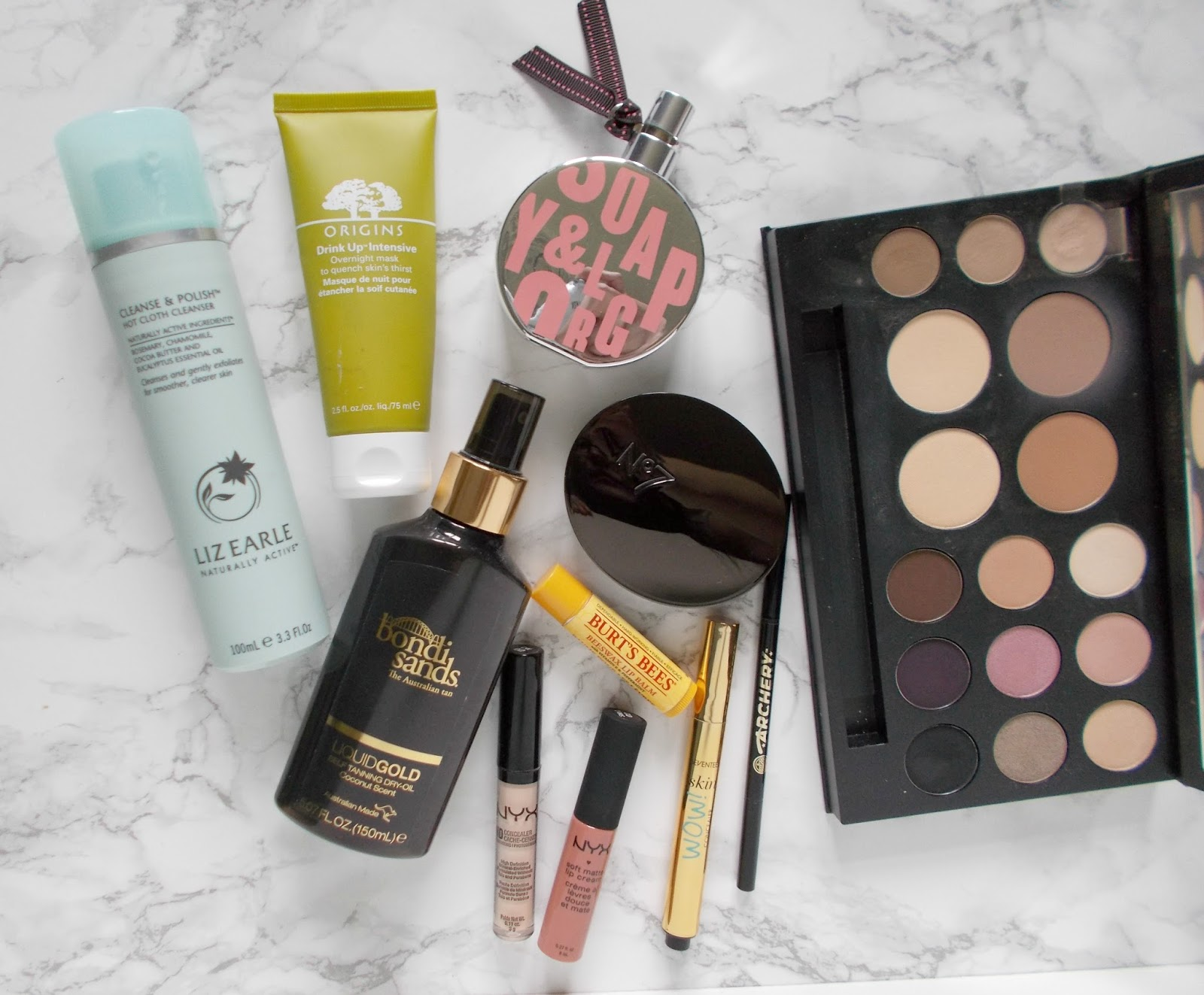 boots haul makeup skincare origins liz earle smashbox bondi sands nyx no7 burts bees soap and glory