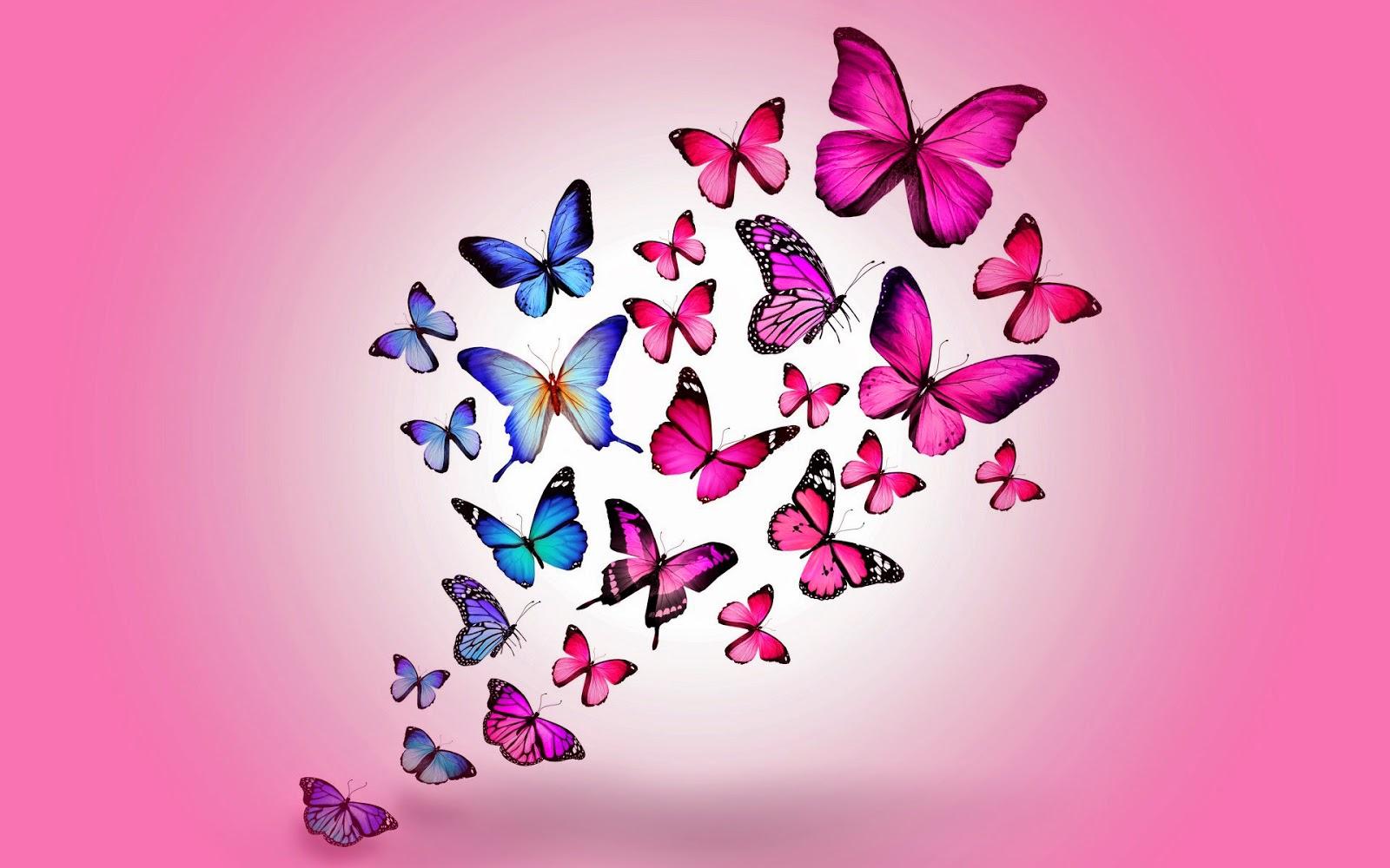 Roze achtergrond met vlinders