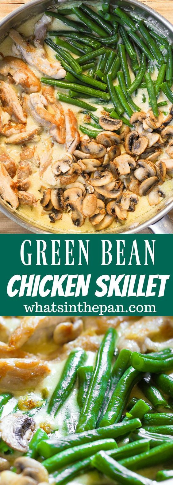 green beans mushroom skillet with chicken in creamy sauce