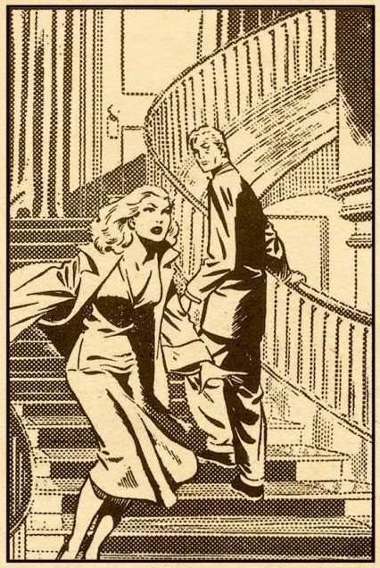 A woman with determined look on her face rushing down a mansion staircase past a man who turns to look at her