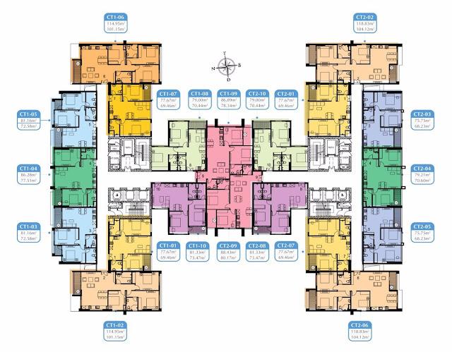 Mặt bằng căn hộ Mỹ Đình Plaza 2