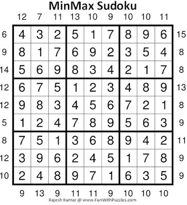 Answer of MinMax Sudoku Puzzle (Fun With Sudoku #367)