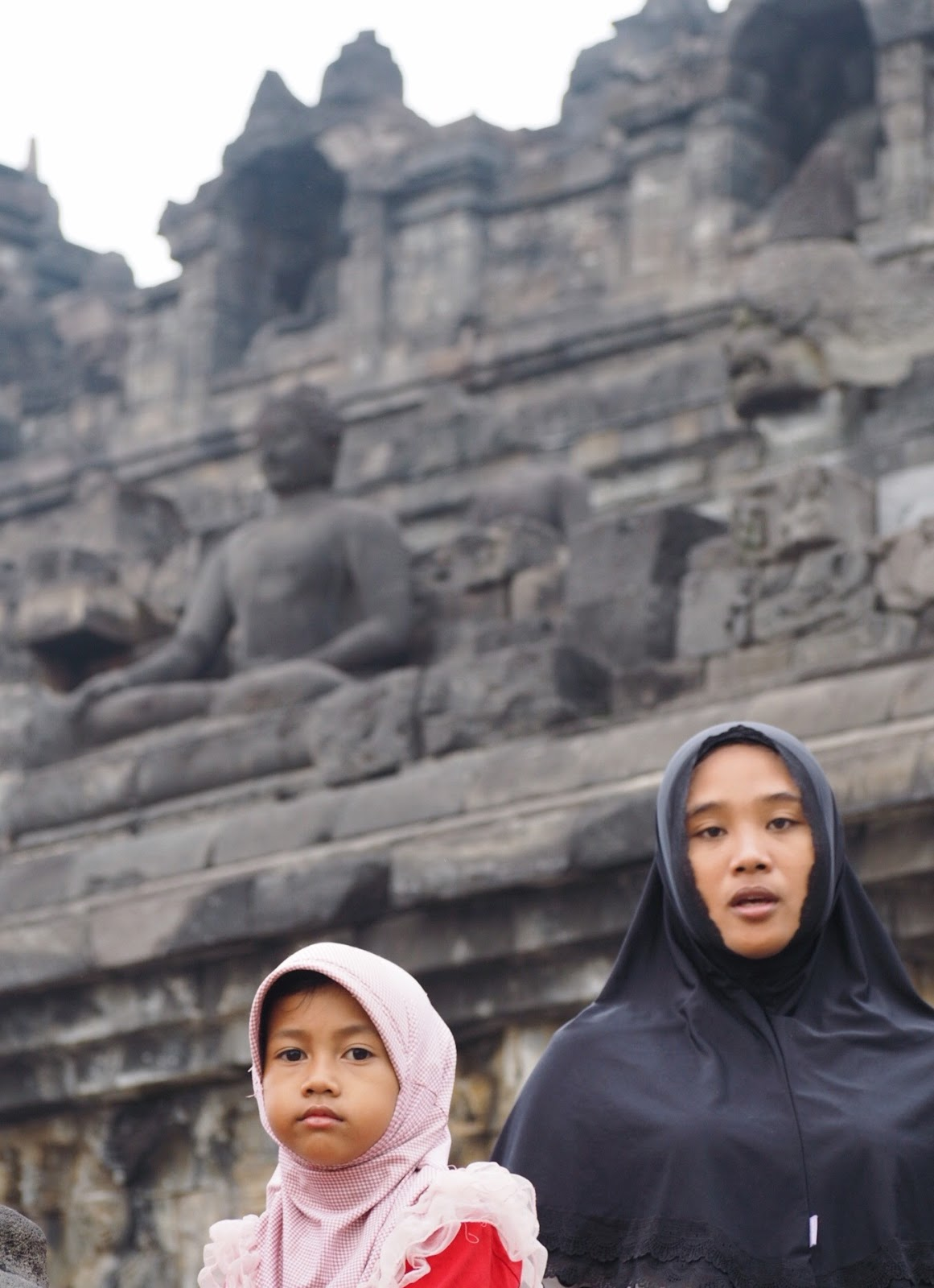 Mother and child at Borobudur Temple