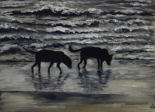 oil painting of 2 dogs on the beach at dusk, pet portrait by Karen