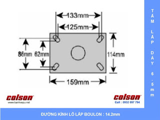 kích thước Bánh xe đẩy có lò xo giảm xóc Colson chịu lực 350kg | SB-6508-648 sử dụng bạc đạn www.banhxeday.xyz