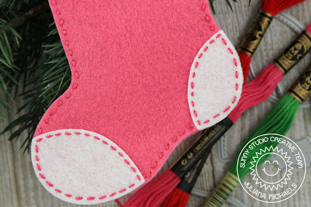 Sunny Studio Stamps: Santa's Stocking Dies Fancy Frames Felt Stitched Christmas Ornaments by Juliana Michaels