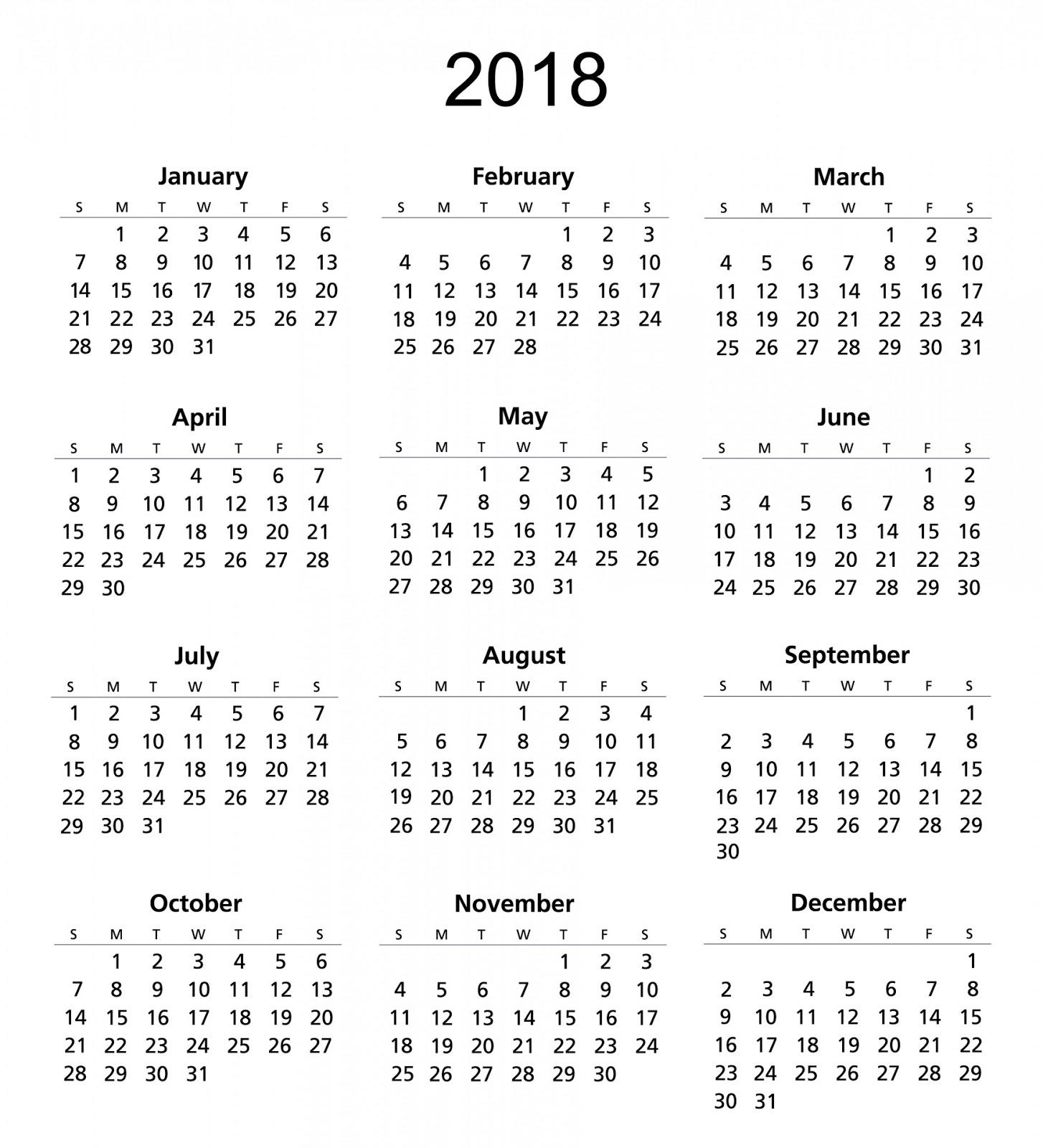 Printable 2018 Calendar Template | calendars 2018 kalendar