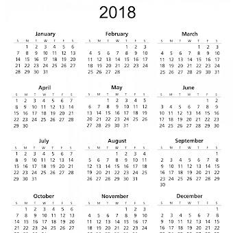 Calendario 2o18.Calendars 2018 Kalendar 2018 Calendario 2018 Feee Printable