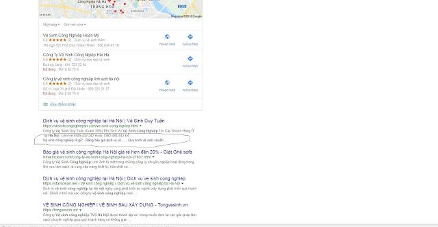 Kết quả sitelink hiển thị trên Google