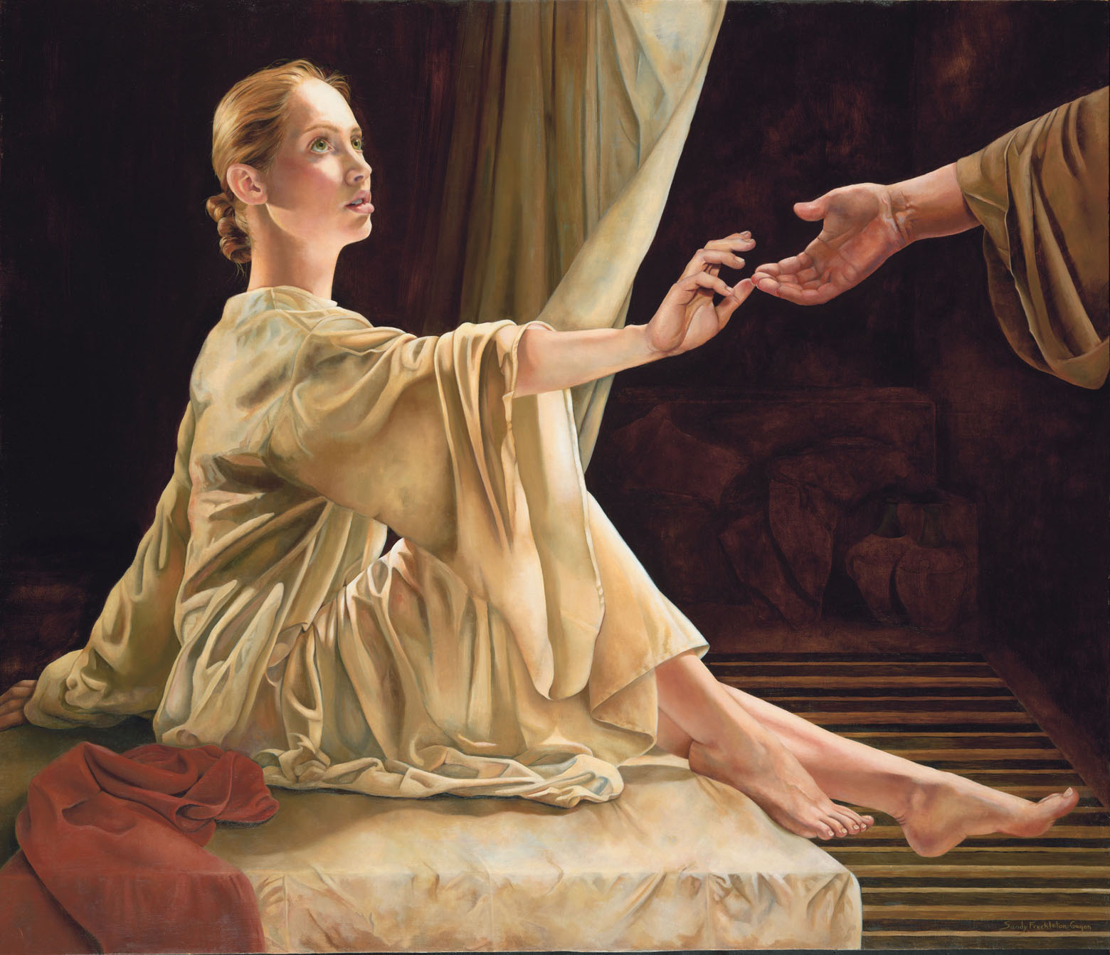 Alone with the dead body, Peter gets down on his knees, prays, and turns to the dead woman. Speaking to her he says, 'Tabitha, get up' (Acts 9:40). And she does!