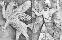 Marduk gegen Tiamat mit Vajras, Donnerkeil