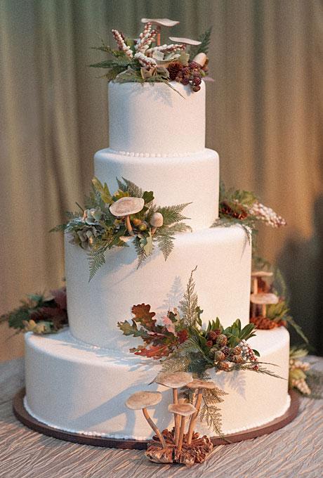 Wedding Inspiration Center Fall Wedding Cake With Nature Fondant Icing