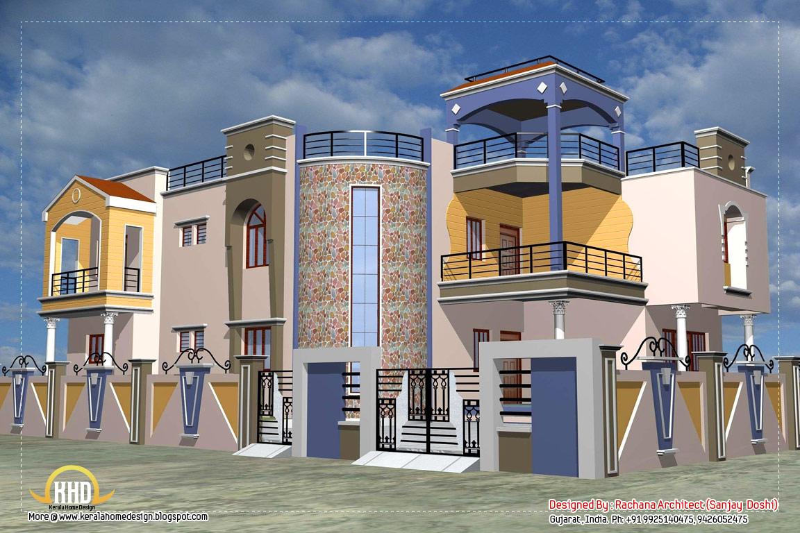 Luxury indian home design with house plan 4200 sq ft for Indian homes front design