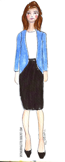 Sprinkle On Glitter Blog// Illustrated Capsule Wardrobe- skirt// skirt & sweater