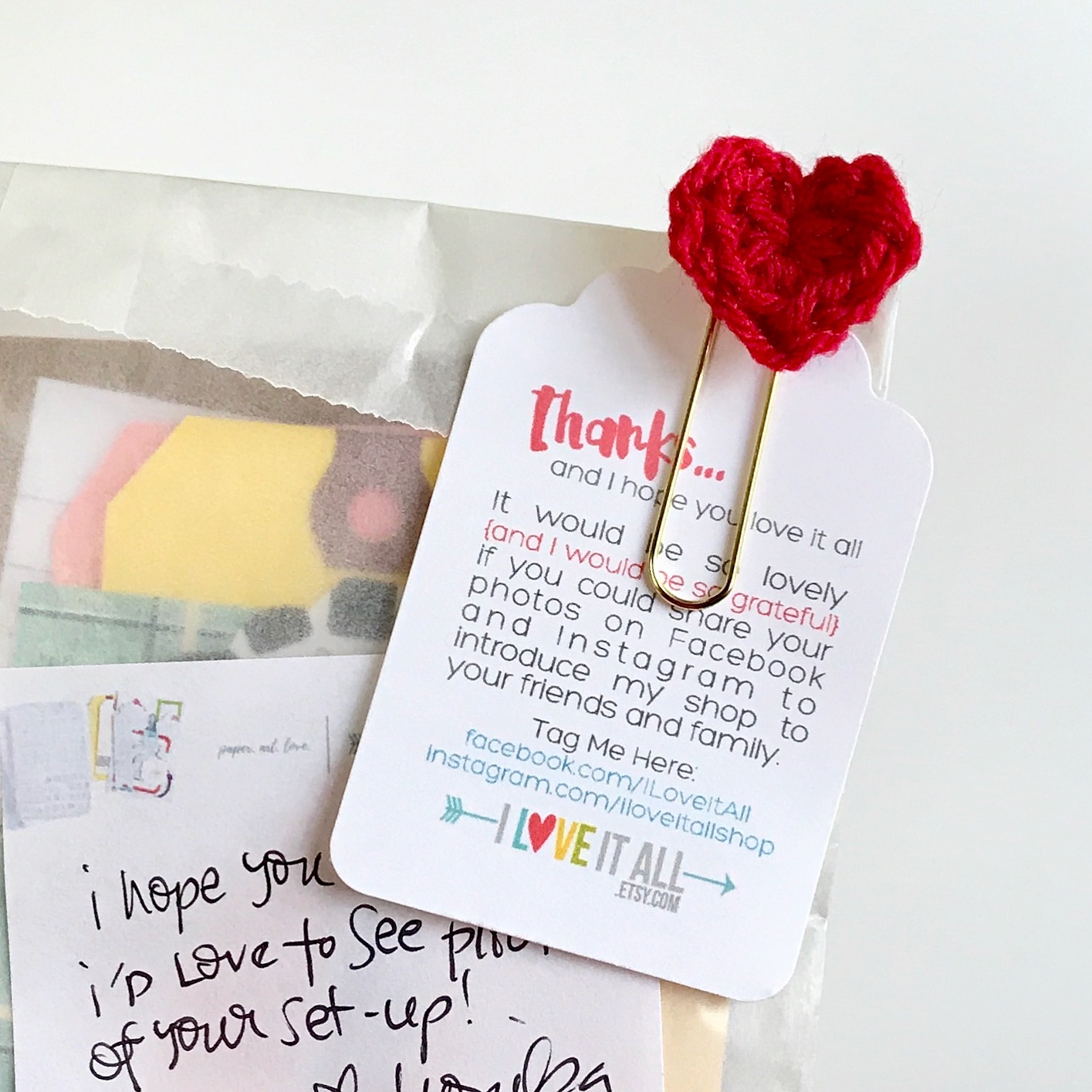 #crochet #heart #planner #paper #clips #etsy #shop #handmade