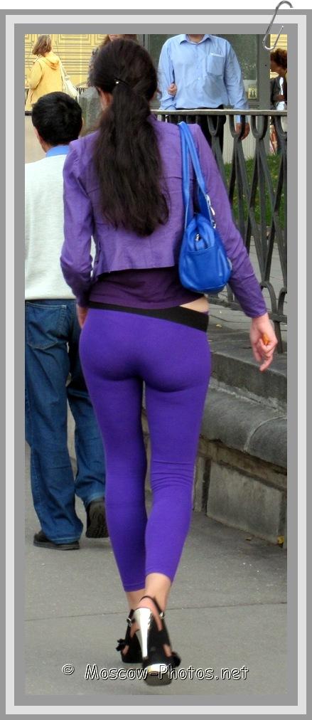 Tall Moscow Brunette In Blue Leggings