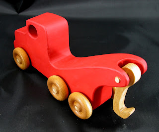 Handmade Wooden Toy Tow Truck From The Quick N Easy 5 Truck Fleet - Red Version - Top Left Rear View