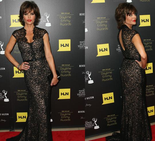 65289ee91f Pictured  Lisa Rinna in a long lace gown at the Daytime Emmys.