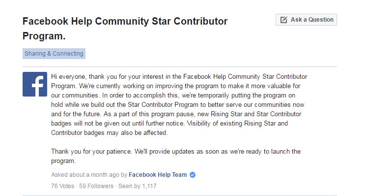 Facebook Help Community Star Contributor Program