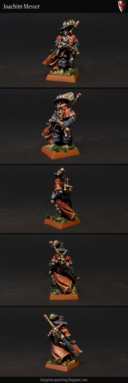 An Empire Witch Hunter miniature painted in Ostland colors, wearing a dark red coat and a two-handed sword on his back.