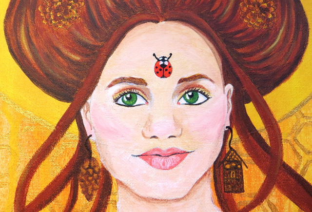 vanessa portrait painting insect inspired closeup