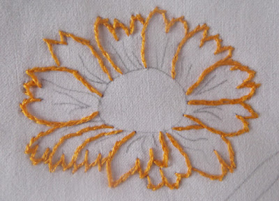 split stitch, project, emboirderym flower, sunset,