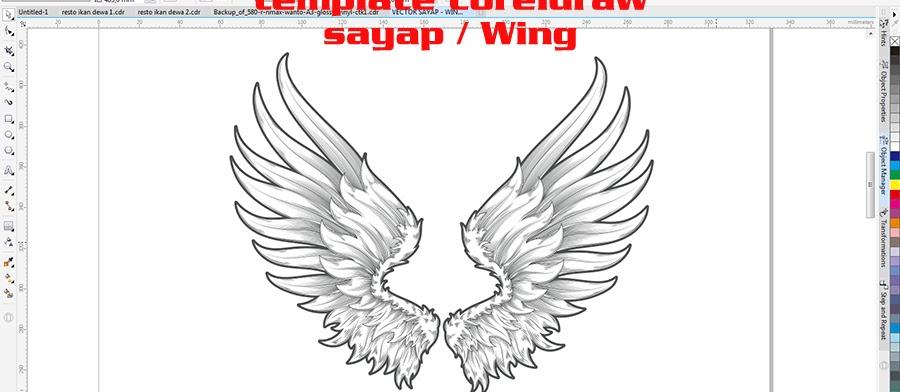 template vector sayap wings format coreldraw