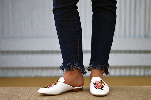 outfit details embroidered gucci style loafers and diy fringe hem jeans