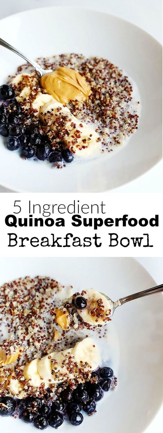 5 Ingredient Quinoa Superfood Breakfast Bowl #breakfast #easy #quinoa #bowl