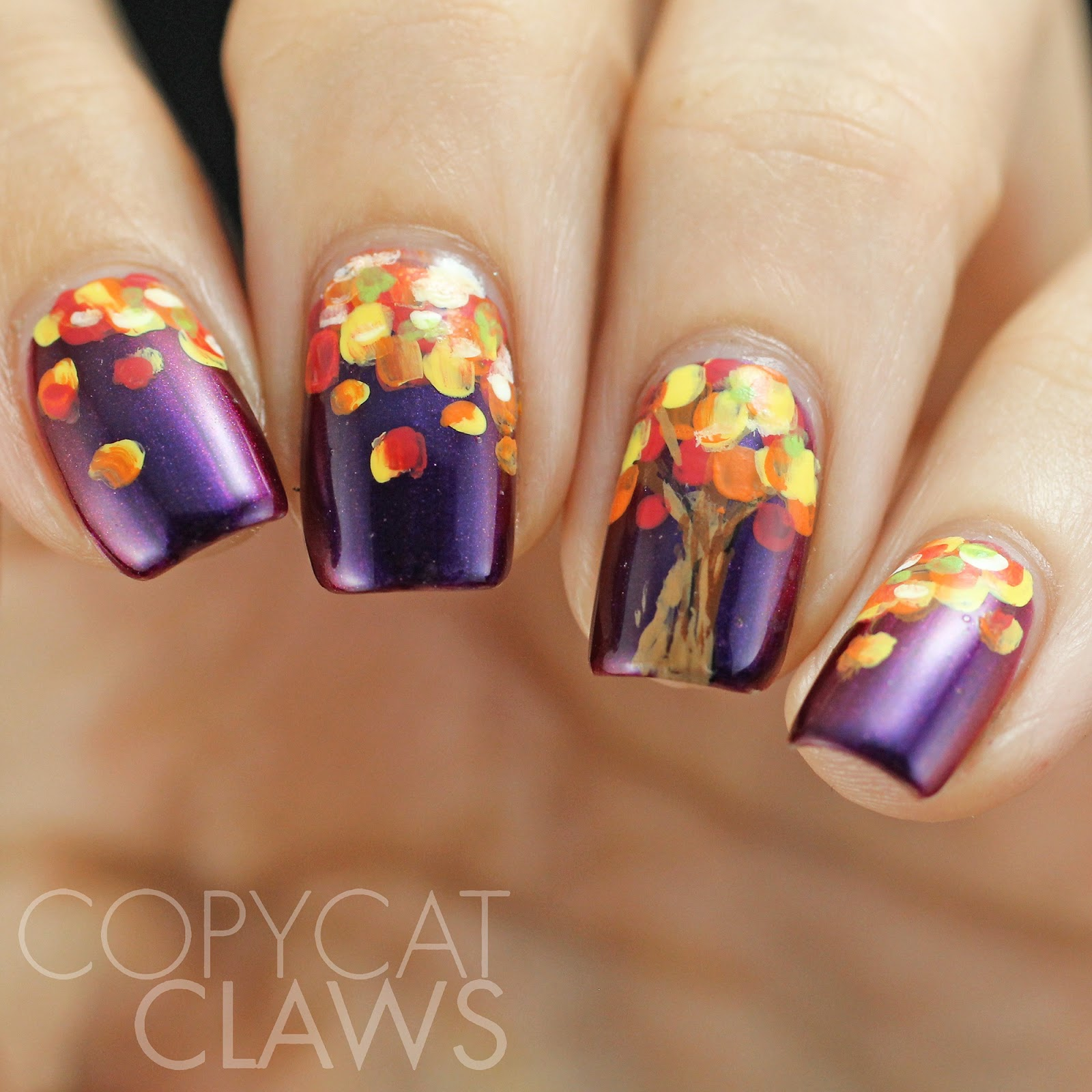 Copycat claws hpb presents fall tree nail art bloggers link up theme of fallautumn i tried to paint a little tree the way i would rather have our trees look instead of just boring ol yellow prinsesfo Image collections