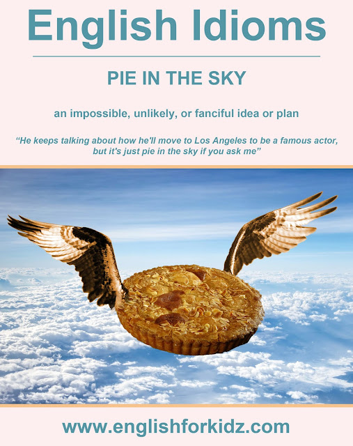 English idiom picture - pie in the sky