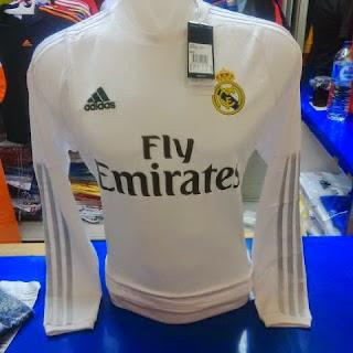 gambar photo Jersey lengan panjang Real madrid home terbaru musim 2015/2016