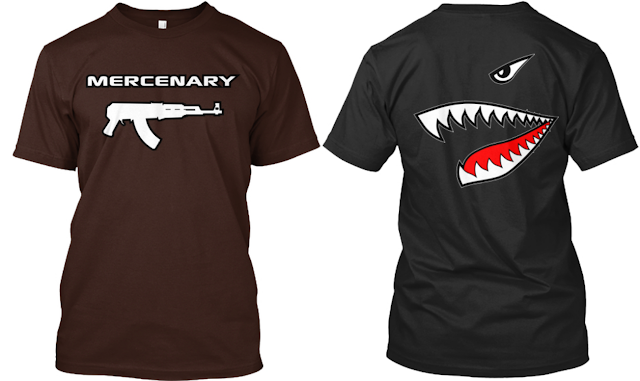 Mercenary Garage Custom Tee Shirt - Mercenary Sharktooth Kalashnikov AK47
