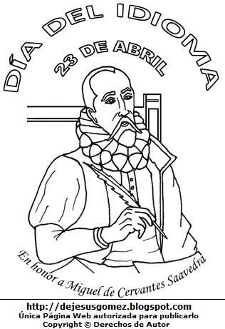 Dibujo del Día del Idioma para colorear, pintar e imprimir para niños - Miguel de Cervantes Saavedra escribiendo con su pluma. Dibujo del Día del Idioma de Jesus Gómez