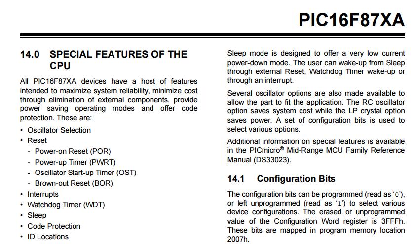 JLabsTech: PIC Microcontroller Configuration Bits