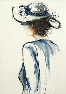 Aquarelle originale, peinture originale d'une femme avec un chapeau