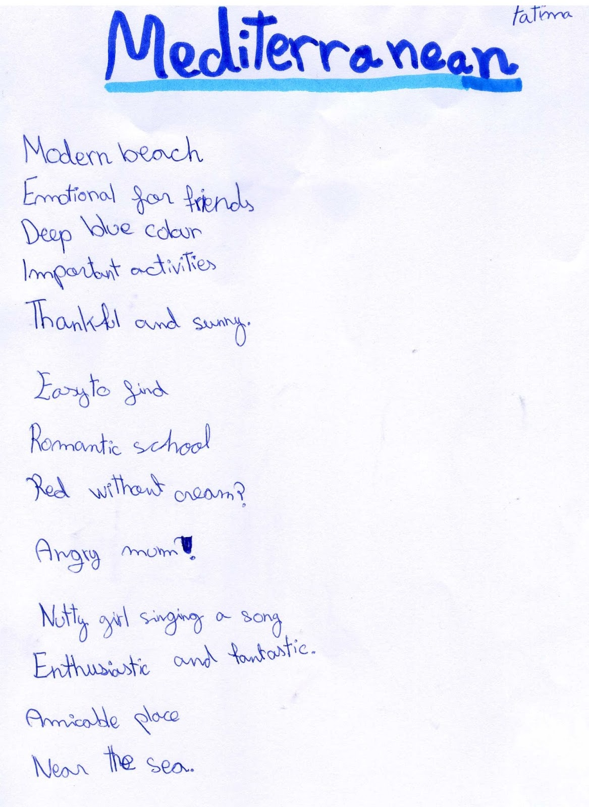 Acrostic Poem Homework