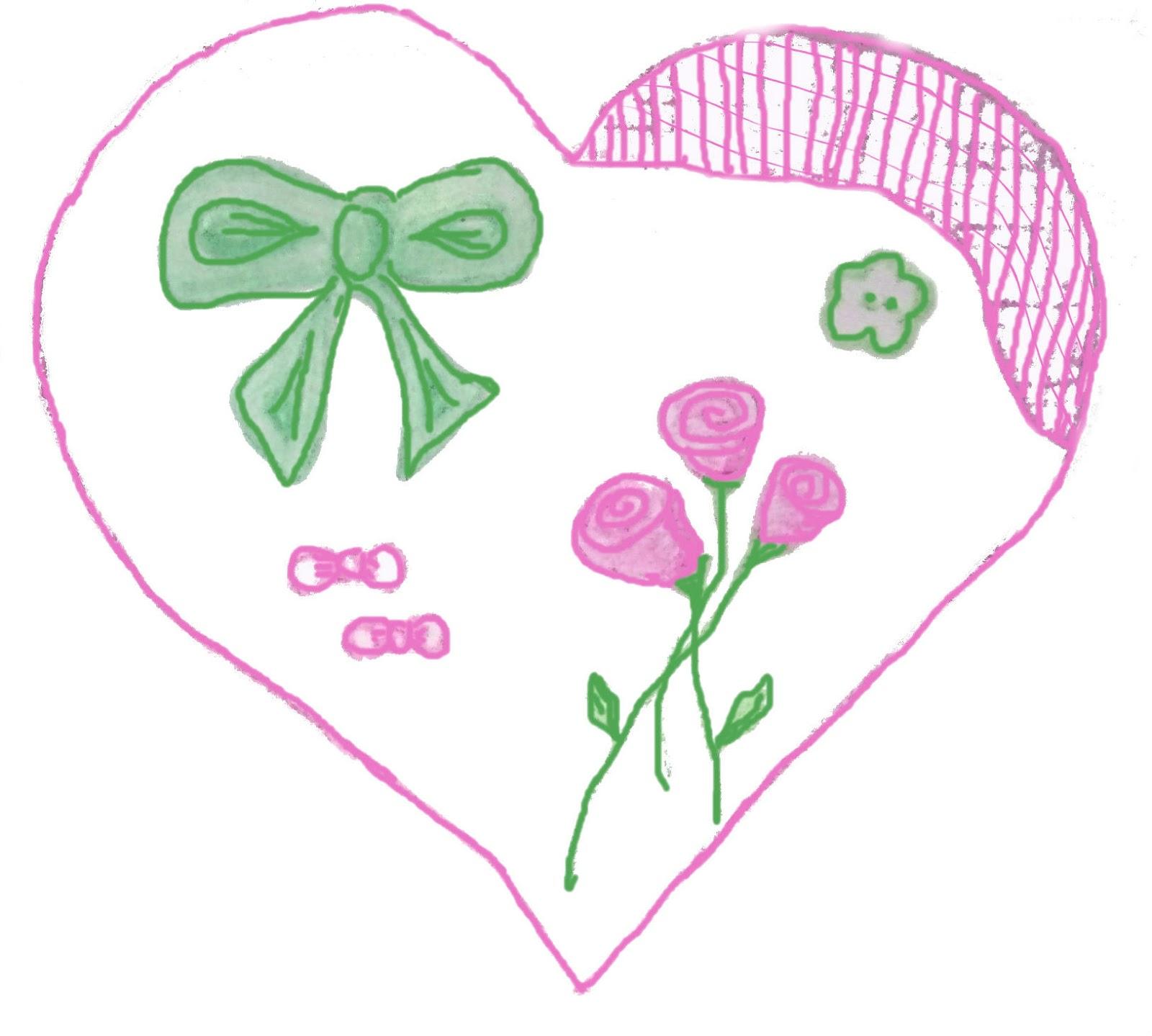 Corazón en verde y rosa con cintas | Corazones inventados
