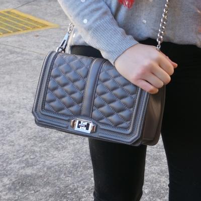 Rebecca Minkoff Love cross body bag in grey with black skinny jeans | awayfromtheblue